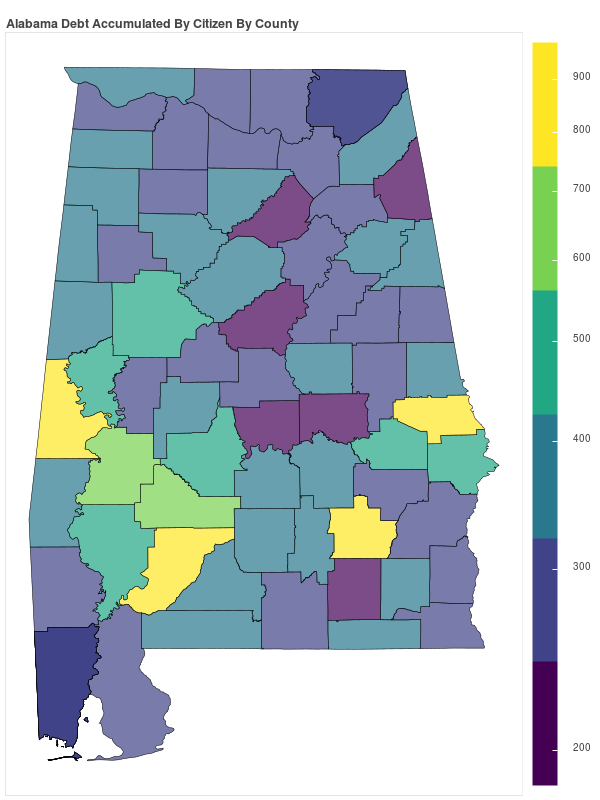 Alabama Consumer Debt Accumulation by County