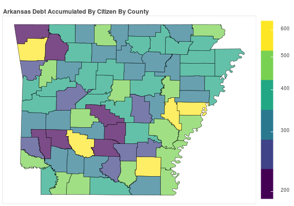 Arkansas Consumer Debt Accumulation by County