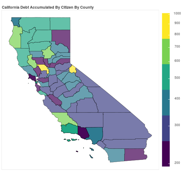 California Consumer Debt Accumulation by County