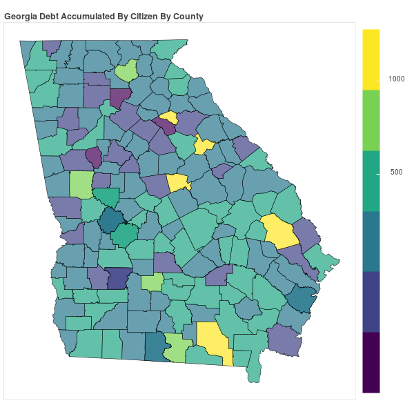 Georgia Consumer Debt Accumulation by County