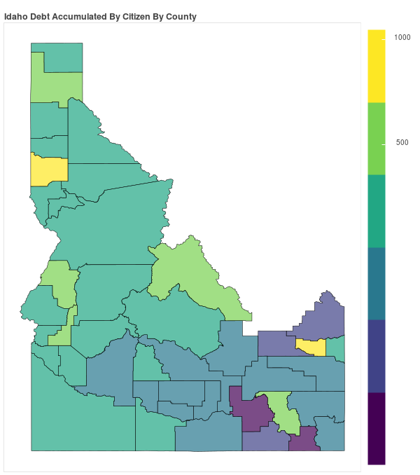 Idaho Consumer Debt Accumulation by County