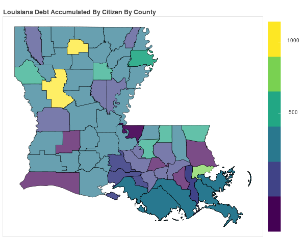 Louisiana Consumer Debt Accumulation by County