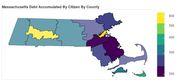 Massachusetts Consumer Debt Accumulation by County