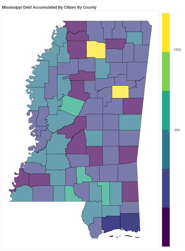Mississippi Consumer Debt Accumulation by County