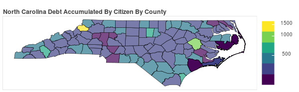 North Carolina Consumer Debt Accumulation by County
