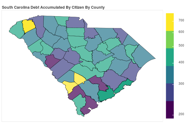 South Carolina Consumer Debt Accumulation by County