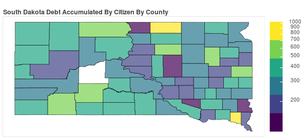 South Dakota Consumer Debt Accumulation by County