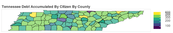 Tennessee Consumer Debt Accumulation by County