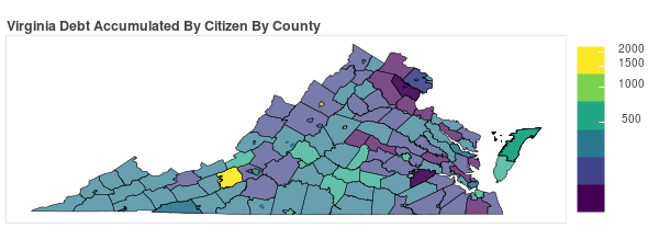 Virginia Consumer Debt Accumulation by County