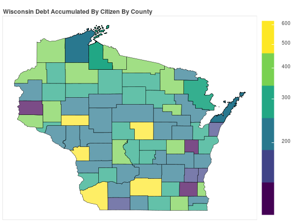 Wisconsin Consumer Debt Accumulation by County