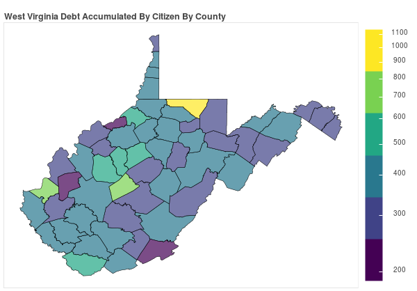 West Virginia Consumer Debt Accumulation by County